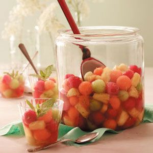 Mojito Marinated Fruit Recipe - I'm going to use either flavored rum or vodka instead, and certainly more than half a cup!
