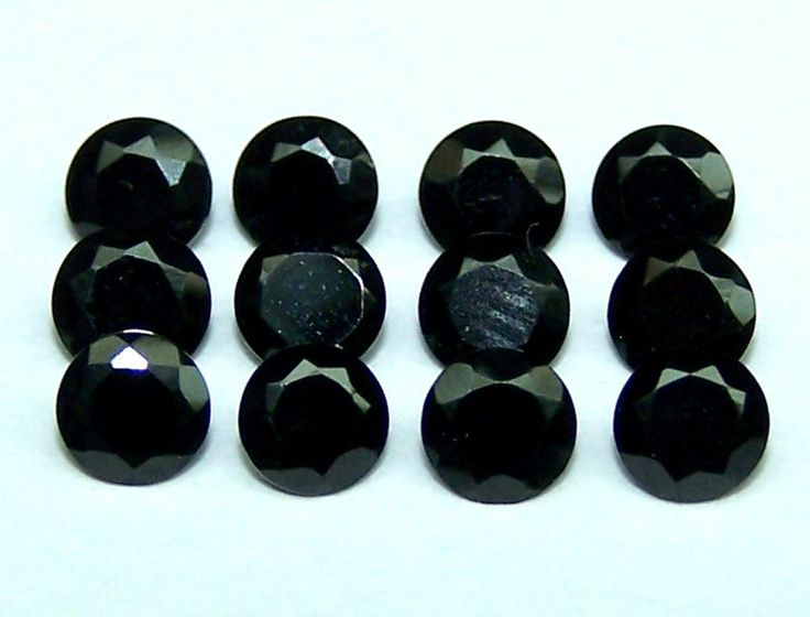 Masterpiece Natural Pitch Black Spinel AAA 4 MM Cut Round Gem Loose (2) Piece