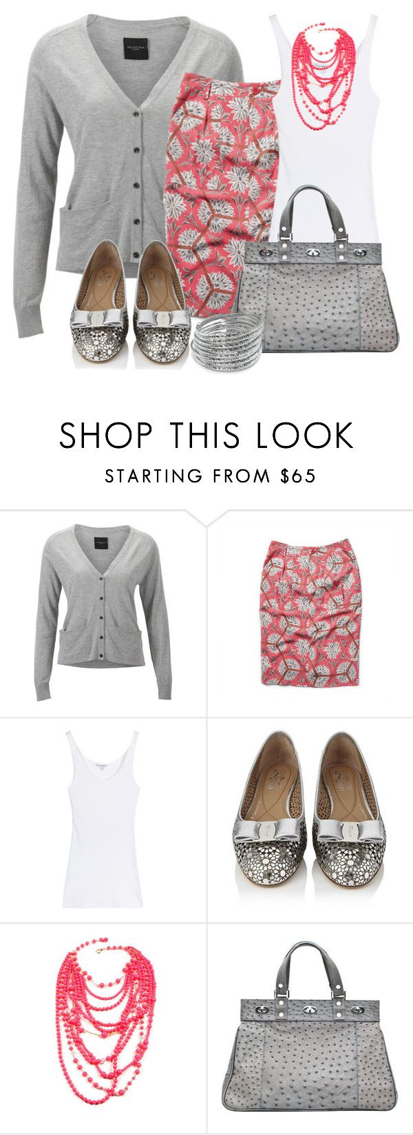 """Untitled #300"" by twinkle0088 ❤ liked on Polyvore featuring SELECTED, James Perse, Salvatore Ferragamo, Amrita Singh, Stephen Mikhail, ABS by Allen Schwartz, gray sweaters and gray bags"