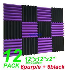 "12 Pack Wedge Purple/Black Acoustic Soundproofing Studio Foam Tiles 2""x12""x12"""