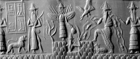 Sceau cylindre sumérien représentant Nergal sortant de la butte primodiale. Il est entouré par Ishtar et par Enki, des symboles représentant l'Etoile du matin apportant la chaleur et l'Etoile du soir apportant l'humidité. >>> http://www.mythes-religions.com/category/la-naissance-dun-etre-divin-solaire/                                                                                                                                                                                 Plus