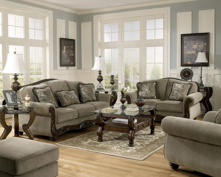 ashley traditional sofa loveseat chair 3 pc living room furniture set - Entire Living Room Furniture Sets