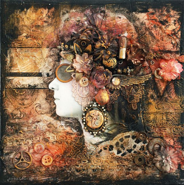 Artysta - The artist - collage by finnabair, via Flickr; tons of Prima and Tim Holtz goodness on there!