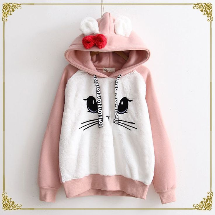 Rabbit Ears Hooded Sweater Pink Hoodie Bunnies Kawaii Fashion Harajuku Fashion