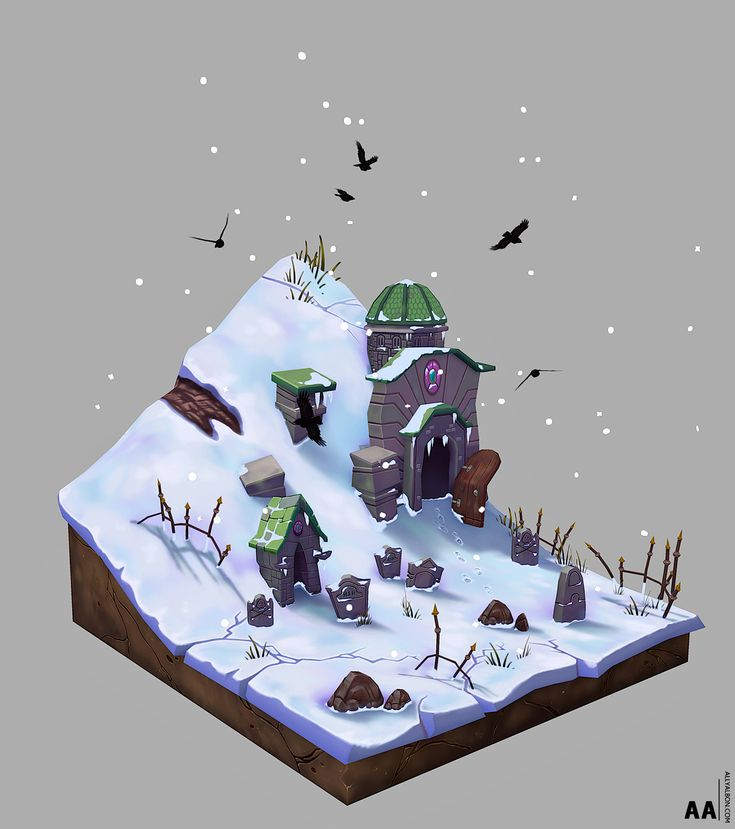 Snowy Graveyard, Ally Albon on ArtStation at https://www.artstation.com/artwork/K2yQW