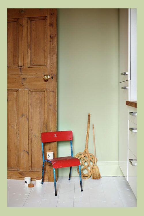 Farrow & Ball Trends 2014; Wall, Cooking Apple Green No.32 Estate Emulsion,  Woodwork, Green Ground No.206 Estate Eggshell, Floor, All White .2005 Floor Paint.
