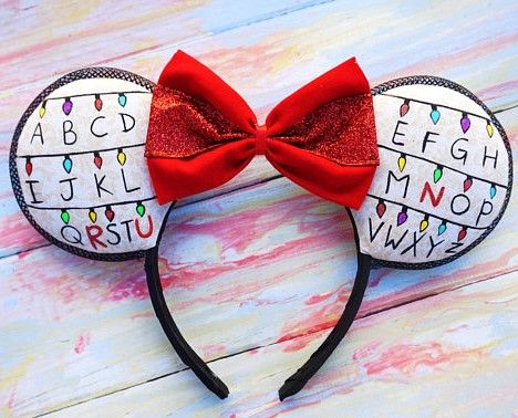 Stranger Things / Mickey ears mashup - too cute! Details are hand painted, slight glitter on painted lights | by YubNubShop #ad #disney #strangerthings #mickeymouse