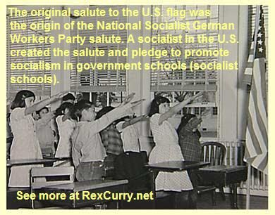 Boy Scouts, Cub Scouts and Girl Scouts spread swastikas, Nazi salutes & mechanical chanting to flags globally. The Nazi salute and Nazi behavior came from the Pledge of Allegiance and THE BELLAMY SALUTE (see the work of the veteran historian Dr. Rex Curry) Wandervögel Wandervogel, Adolf Hitler Youth http://rexcurry.net/pledge-of-allegiance-scouts-villefranche.jpg Francis Bellamy, Edward Bellamy