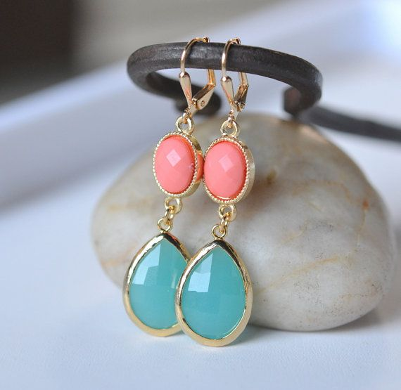 Large Turquoise Teardrop and Bright Coral Dangle Bridesmaid Earrings in Gold.  Drop Earrings. Turquoise Dangle Earrings.