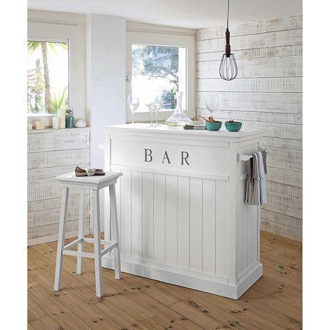 Taburete de bar de madera blanco newport maisons du - Taburete para bar ...