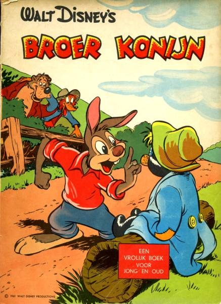 Broer Konijn en op de achtergrond rein vos en bruin beer. het is een grappig kinder boekje. het zijn grote letters dus makkelijk om te lezen voor kleine kinderen