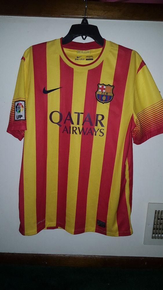 e5de574a0 FCB FC Barcelona Qatar Airways PRAGA Soccer Futbol Jersey Shirt ~ Size L    ebay