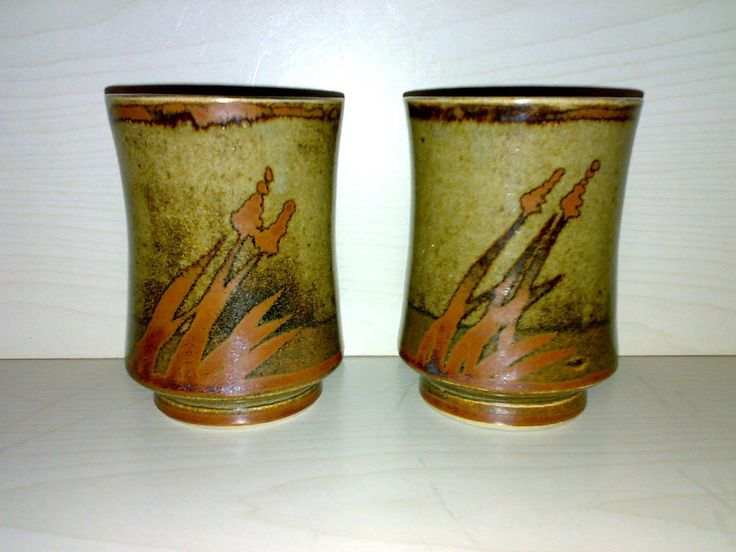 2 Tee / Wein Becher HORST KERSTAN KANDERN Studio Pottery Keramik H: ca. 10 cm **
