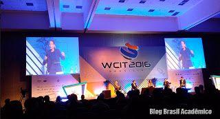 Impressões do Congresso Mundial de Tecnologia da Informação - WCIT 2016  O Brasil Acadêmico esteve na cobertura desse tradicional evento internacional de TI e mostra o que de mais importante se viu por lá.  Segundo o site oficial o Congresso Mundial de Tecnologia da Informação - WCIT é baseado em quatro pilares principais: palestras exposições encontros B2B e eventos sociais. Isso faz do evento uma oportunidade única de expandir os negócios e investimentos em empresas e ideias gerando…