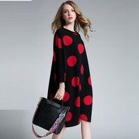 2016 Новый Осень зима женщины свободные платья горошек длиной до колен случайные vestidos плюс размер повседневные платья XXXXL 6238