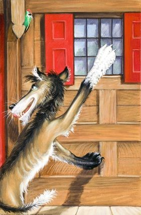 White paw at window - The Wolf And The Seven Little Kids - Robert Lumley - Ladybird Book