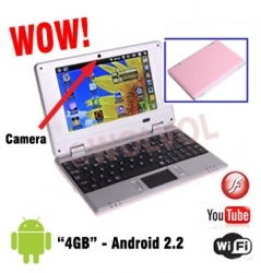 PINK Mini Computer Laptop Notebook 7 inch PC WIFI internet Android 2.2 Built-in Camera 4gb HD 256mb Ram (INCLUDES: Velvet Pouch Case, Charger, Mini Optical Mouse)    Product sku: 112Availability: Out Of StockPrice: $179.99 $119.99