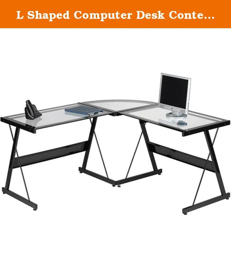 L Shaped Computer Desk Contemporary Laptop Workstation Perfect Piece Of Office Furniture Satisfaction Guaranteed 3 Piece Glass Corner Desk With Spacious Work Surface Table Ideal for Home Office Or College Dorm. Make the most of your workspace with the Santorini L-Shaped Computer Desk. It has an elegant, contemporary design and a highly functional build. It provides a spacious work surface for your computer, electronics, files, art projects and more. This contemporary computer desk has a...