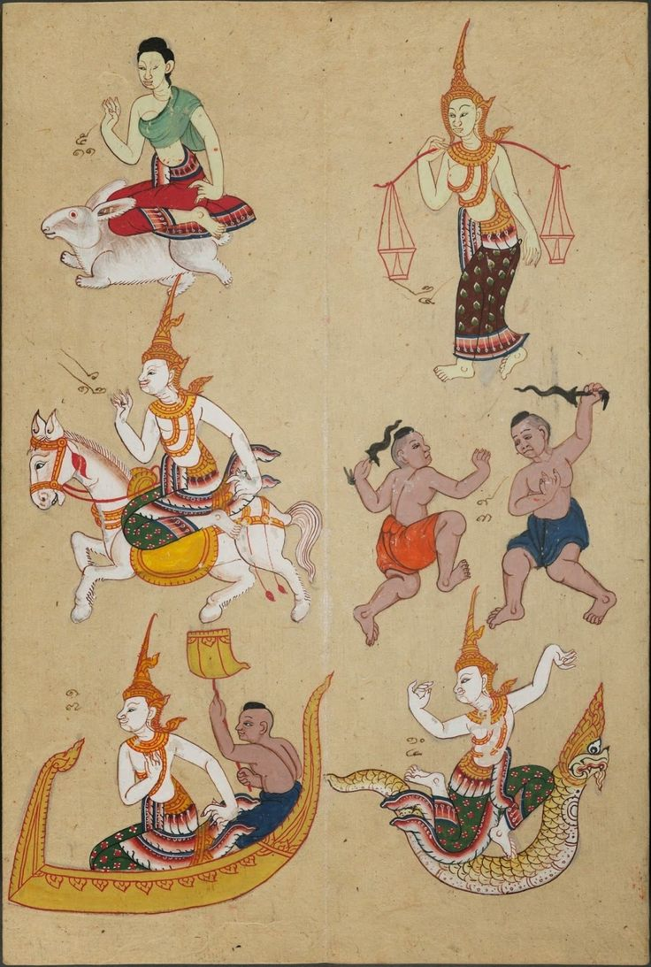 """""""Fortune telling manual based on a 12 animal zodiac. Four-page spreads include paintings of the animal for a specific year, along with mascot-figure for that year, the corresponding tree for that year, and scenes depicting good and bad marriage matches for that animal zodiac. The monkey, rooster, dog, and pig are fully illustrated but do not have any accompanying text."""" The manuscript is dated to before 1844"""