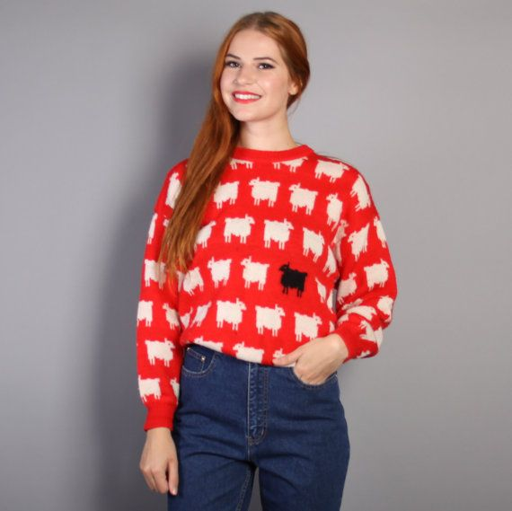 ee06ffeae2d5 80s BLACK SHEEP SWEATER   Red Wool Princess Diana Pullover