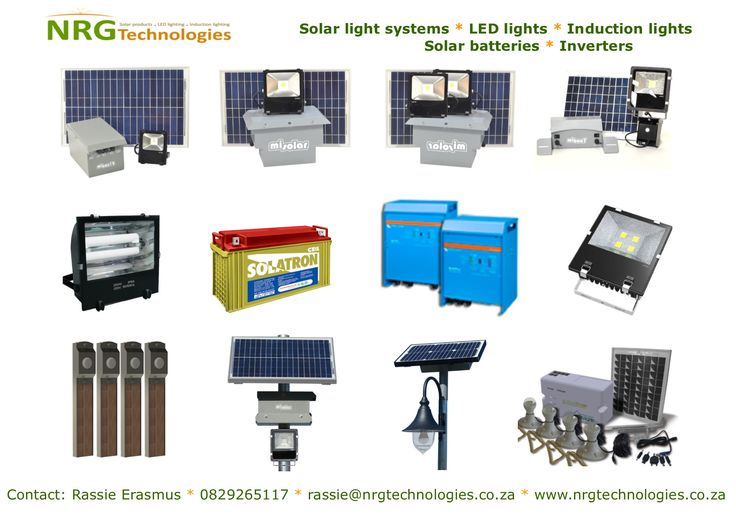 Solar lighting, LED lighting, Induction lighting, Inverters and Deep cycle batteries