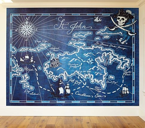 Pirate Map Mural | Pottery Barn Kids    I MUST have this for my boy's pirate bathroom!