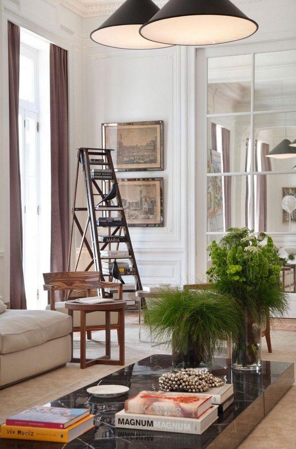 Living Room, An Appealing Interior Design With Luminous Pendant Lamps Marvelous Ledder Shelf Astounding Low Profile Table Fresh Flower Pot E...