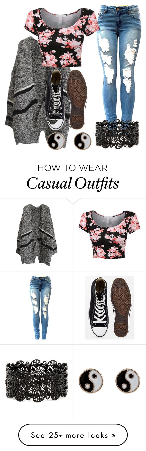 """""""casual V-day"""" by pashion1for2fashion on Polyvore featuring Converse, Accessorize, women's clothing, women, female, woman, misses and juniors"""