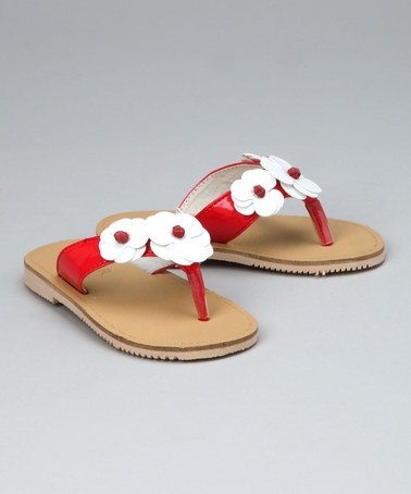 look at this Red Flower Flip-Flop by L'Amour Shoes on #zulily today
