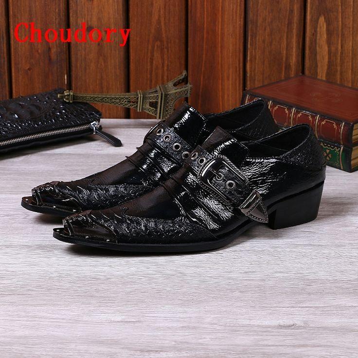 87.18$  Watch here - http://ali5j9.shopchina.info/go.php?t=32788674388 - Choudory British Men Black Dress Shoe Metallic Luxury Prom Shoes Genuine Leather Oxford Shoes For Men  #buyininternet