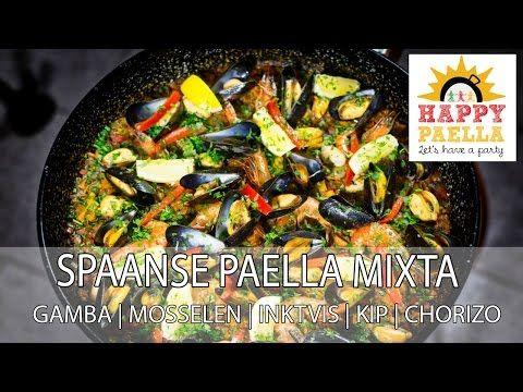 Recept paella mixta met gamba's, mosselen, inktvis, verse chorizo en kip
