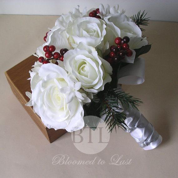Christmas Winter White Premium Silk Rose and Red Holly Berry, Wedding Bouquet  Boutonniere