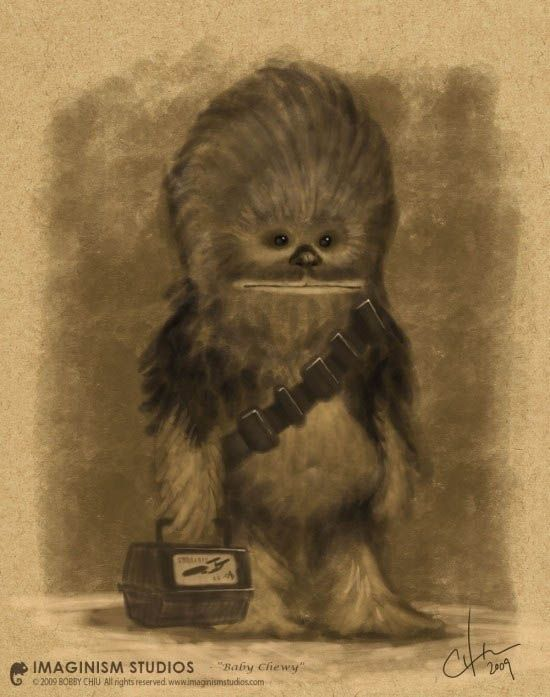Chewy's first day of school.//D'AWWWWWWWW!!!: Chewbacca, Babies, Baby Chewy, Art, Star Wars, First Day Of School, Starwars