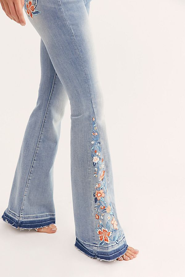 Driftwood Farrah Embroidered Flare Jeans Embroidered Denim Pants Jeans For Short Women Flare Jeans