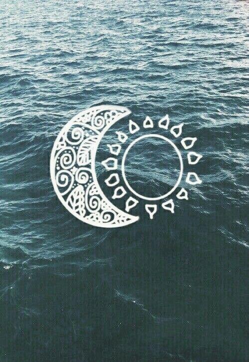 #moon #sun #water #ocean #blue #white #wallpaper