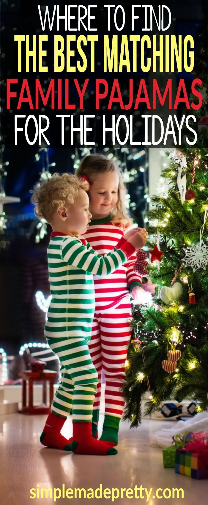 Our family has a Christmas tradition to wear family Christmas pajamas and we are always looking for new ways to incorporate them into our family Christmas photo ideas. I love all the matching family Christmas pajama ideas available in this post! Some of these holiday family pajamas are really funny and the women's pajama set is really comfy for winter.  via @SMPblog