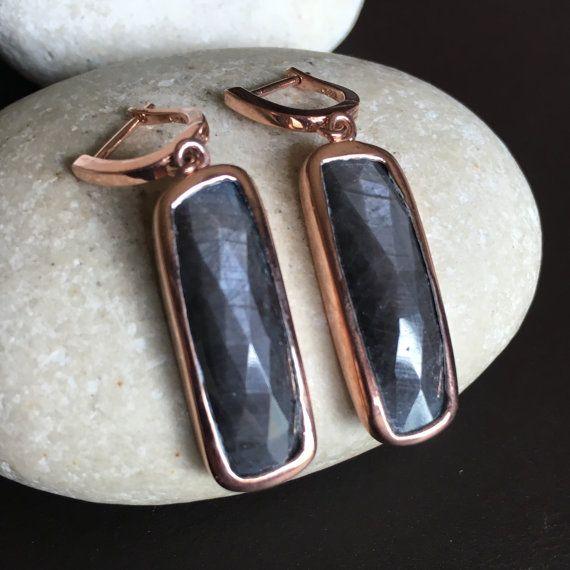 Gray Sapphire Earrings Rose Gold Earring Dangle by Belesas on Etsy