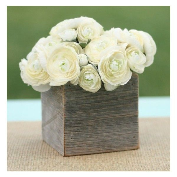 Rustic Barnwood Planter Box found on Polyvore featuring polyvore, home, home decor, small item storage, flower stem, flower holder, flower planter boxes, rustic centerpieces and flower pots