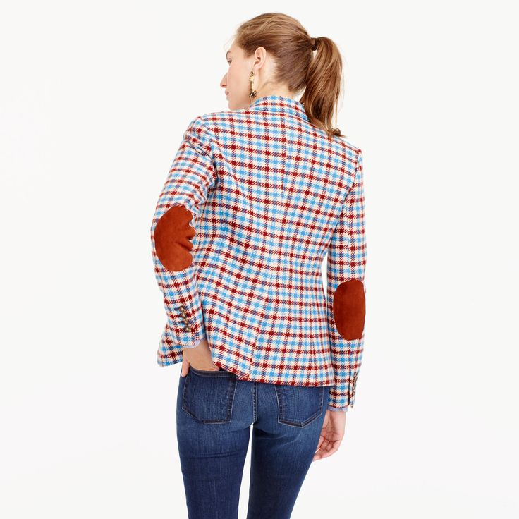 """This blazer features a slim, feminine fit and a pretty plaid pattern just in time for chillier weather. Peek inside and you'll discover something we like to call """"interior design,"""" or those special hidden details that we don't have to spend time on, but do. Think a striped lining and contrast piping, plus a handkerchief pocket for stashing things like headphones or your favorite lipstick. <ul><li>Body length: 26"""".</li><li>Sleeve length: 32"""".</li><li>Hits at hip.</li><li>Wool.</li><li>Dry…"""