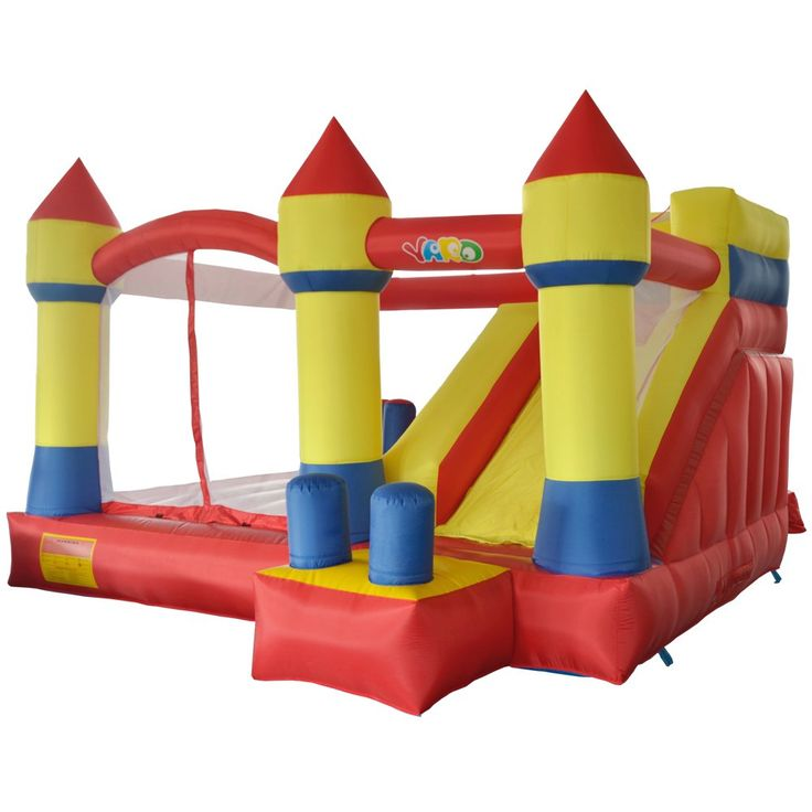YARD Inflatable Bouncer Slide Obstacle Combo Children Outdoor Jumping Castle with Blower 13.1'x12.5'x8.2'. ★Big size: 13.1' x 12.5' x 8.2', with a slide, a bouncing area, four obstacles, a climbing wall, ideal for a birthday party, family reunion, or for any occasion to keep the kids entertained as they bounce around in the moonwalk. ★Huge play area (10.2 x 7.2 feet) providing large space to accommodate 5-6 children under total 550 pounds. 19.6'' height mattress giving enough air pressure...