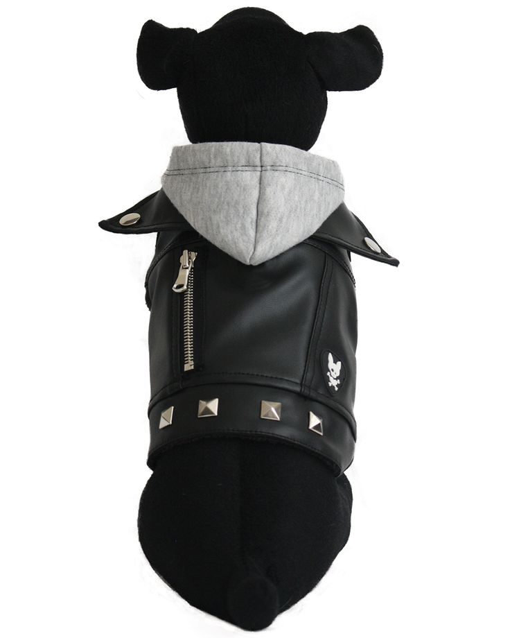 The CHARLIE basic  vegan leather Dog Jacket is a collared, faux leather moto jacket with a light grey sweatshirt fleece hood and black cuddle fleece lining.