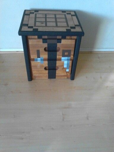 jewelry store Minecraft crafting table - Regular table, painted cardboard top and between leg inserts.