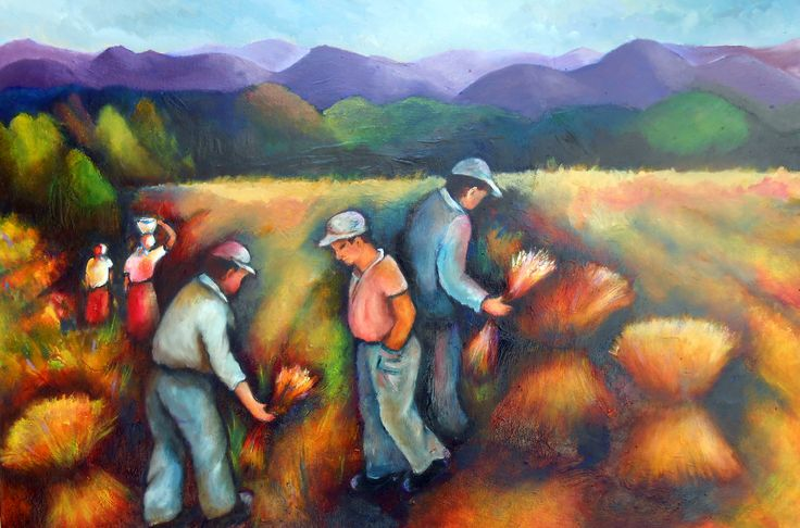 Harvesting the fields.oil on canvas.landscape painting.