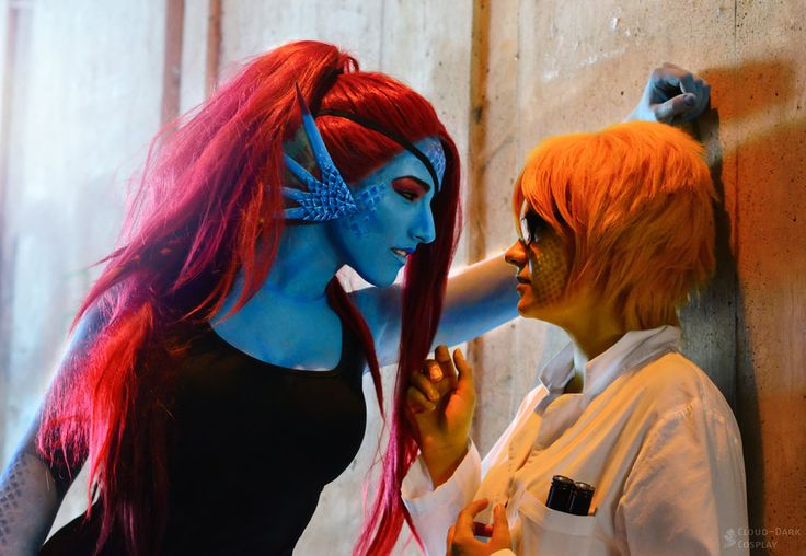 Photo and Make-Up made by my beloved twin <3 Love my Undyne Cosplay so much xD and I really felt so pretty in Blue with red hair *__* Photo was taken at Made in Japan'16 in Austria Undyne (Under...