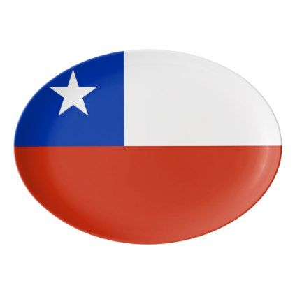 Patriotic porcelain coupe platter with Chile flag - trendy gifts cool gift ideas customize