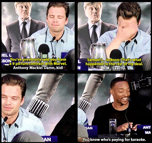 Facial expressions are too perfect. Anthony Mackie and Samuel Jackson giving Sebastian Stan a hard time over his 9 picture deal with Marvel.