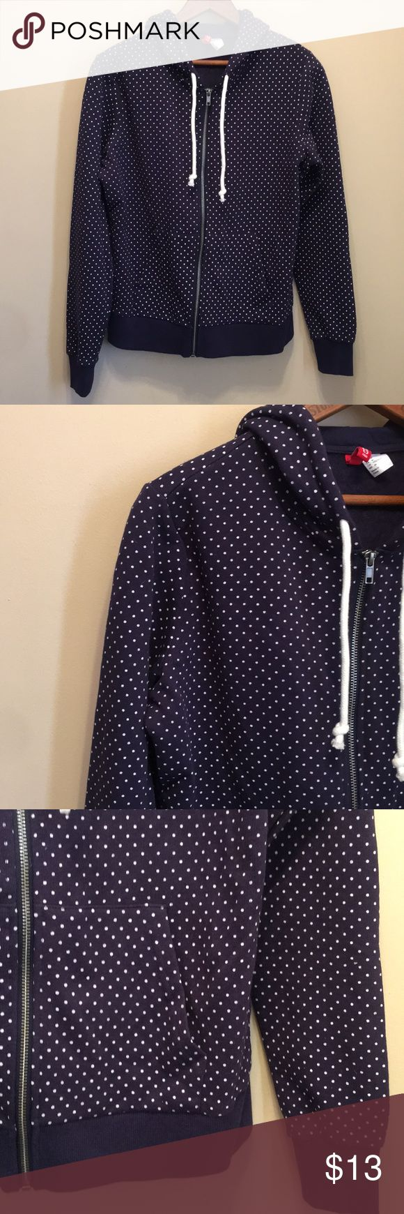 DIVIDED H&M Women's polka dot Zip Up Hoodie Divided H&M Women's Zip Up hooded long sleeve sweatshirt Navy blue with white polka dots Size medium In very good used condition only wore once or twice Divided Tops Sweatshirts & Hoodies