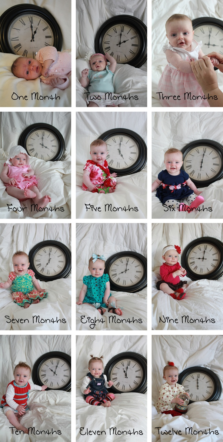 Photograph your baby each month with a clock set to the appropriate hour. It gets tricky as they get older but worth it for the cute memories!