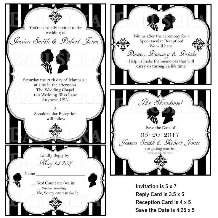 Beetle Juice Themed Wedding Invitation set/ Gothic Themed Wedding Invitations/ Goth wedding Invitations by BabushkasPrintables on Etsy