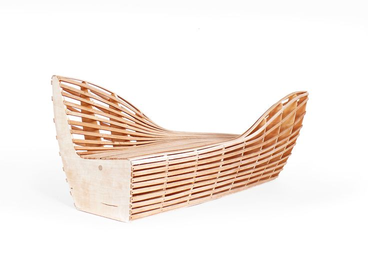 Bench - yacht. She is sailing among the people.